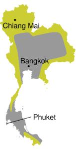 Thailand malaria kaart